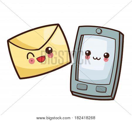 kawaii smartphone mail envelope image vector illustration eps 10