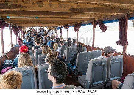 Huay Xai, Laos - Mar 03 2015: Slow Boat Cruise On The Mekong River. Popular Tourist Adventure Trip B