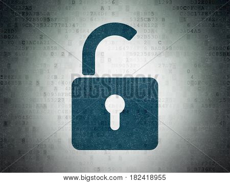 Privacy concept: Painted blue Opened Padlock icon on Digital Data Paper background