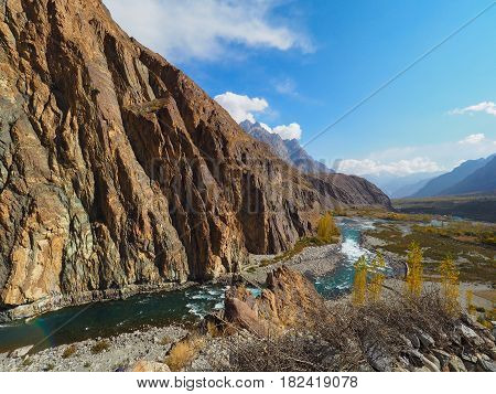 Autumn Landscape Of Gupis Lake In Ghizer Valley, Northern Pakistan
