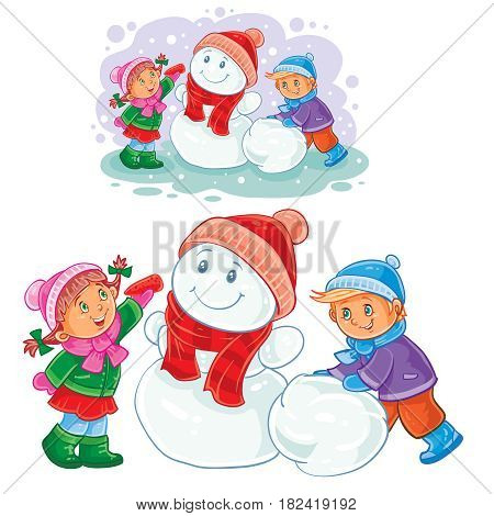 Vector winter illustration of small children mold snowmen. Print