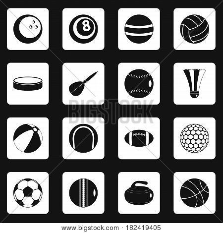 Sport balls icons set in white squares on black background simple style vector illustration