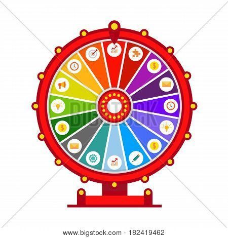 Wheel of fortune vector infographic elements, flat design isolated on white background - stock vector