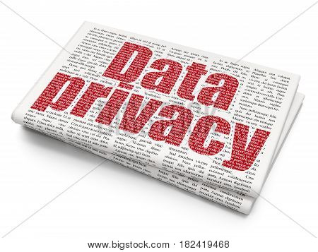 Security concept: Pixelated red text Data Privacy on Newspaper background, 3D rendering