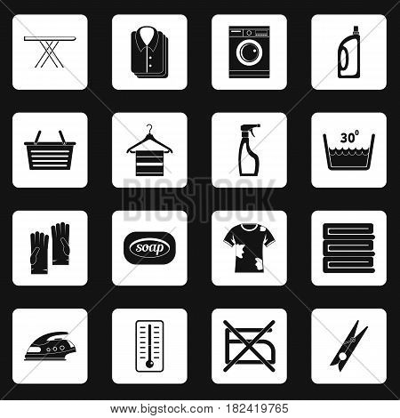 Laundry icons set in white squares on black background simple style vector illustration
