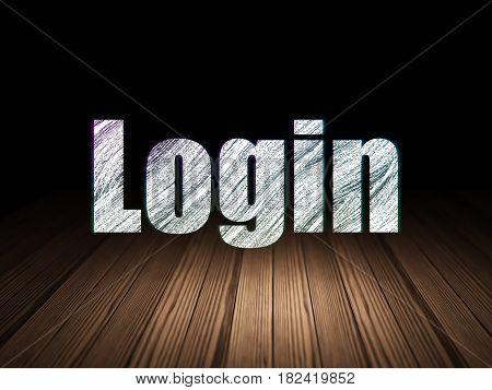 Security concept: Glowing text Login in grunge dark room with Wooden Floor, black background
