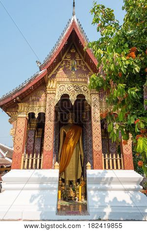 Luang Prabang, Laos - Mar 05 2015: Vat Sensoukharam. A Famous Temple In Luang Prabang Which Is The U