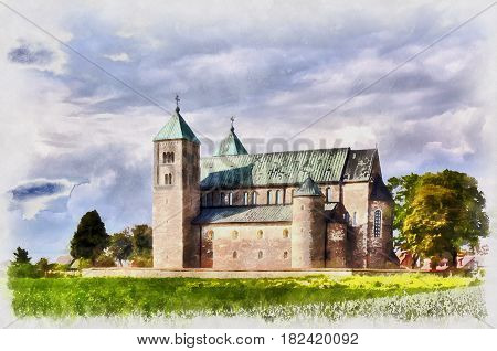 Colorful painting of romanesque collegiate church, Tum, Lodz Voivodeship, Poland