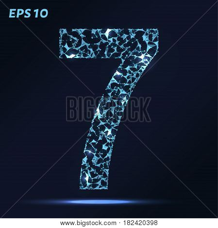 The Letter 7 Consists Of Points, Lines And Triangles. Vector Illustration.