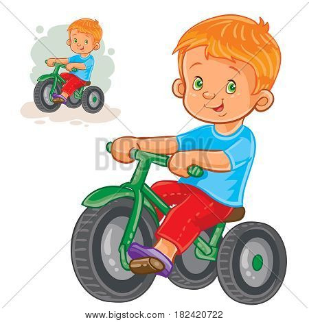 Vector illustration of small boy ride tricycle. Print for T-shirts