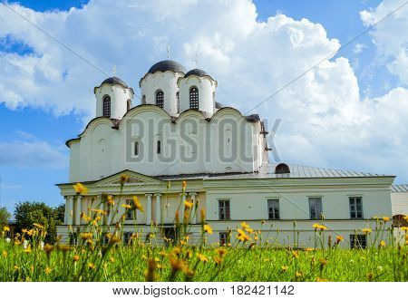 Architecture landscape - St Nicholas Cathedral - one of the oldest cathedrals of Novgorod at the Yaroslav Courtyard Veliky Novgorod Russia. Architecture landscape of Veliky Novgorod Russia