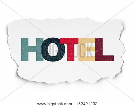 Tourism concept: Painted multicolor text Hotel on Torn Paper background