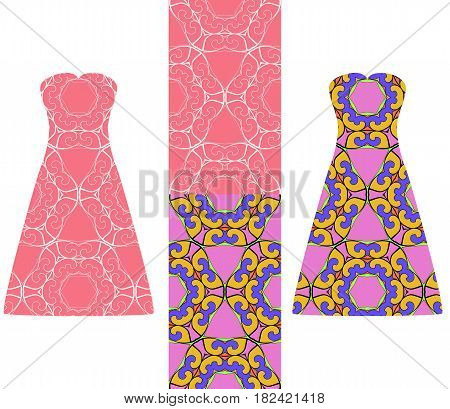Set Of Two Types Of Seamless Geometric Patterns, And Two Versions Of A Summer Female Dress With An O