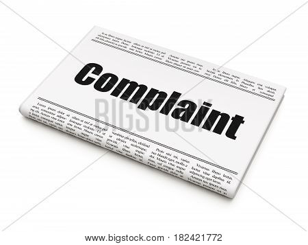 Law concept: newspaper headline Complaint on White background, 3D rendering