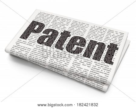 Law concept: Pixelated black text Patent on Newspaper background, 3D rendering