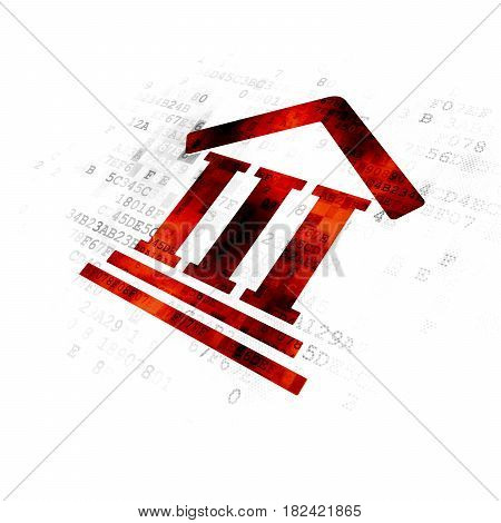Law concept: Pixelated red Courthouse icon on Digital background