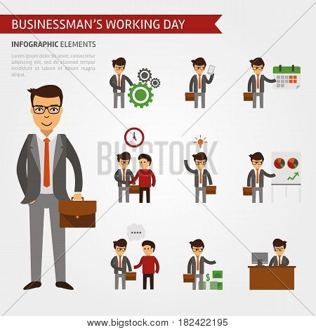 Businessman working day infographic elements. Business icons vector flat, meeting, growth, handshake, the deal, idea, income talks proceedings