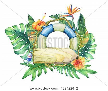 Circle frame with lifebuoy, nameplate, flowers and tropical plants. Hand drawn watercolor painting on white background.