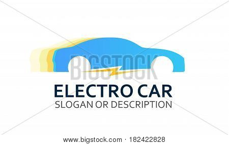 Colorful Logo of Electro Car in Blue Colors. Emblem with Caption isolated on White Background.
