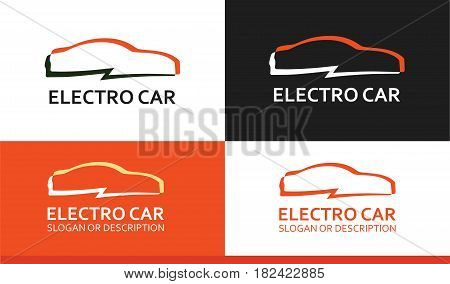 Logo of Electro Car in Colorful design isolated on White and Orange Background.