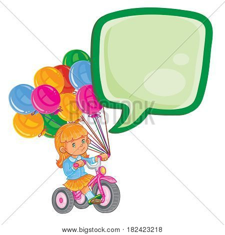 Vector illustration of small girl ride tricycle with balloons