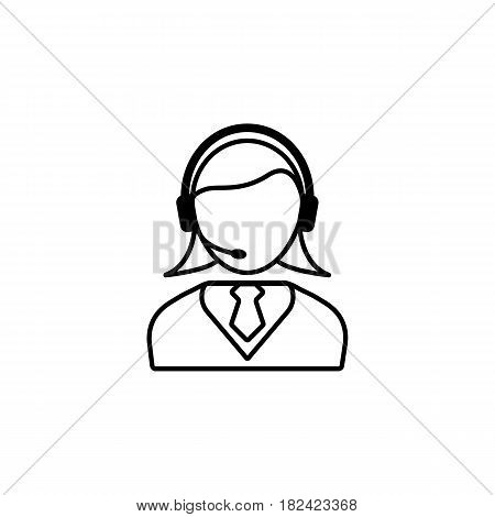 Online consulting line icon, seo and development, female operator sign, a linear pattern on a white background, eps 10.