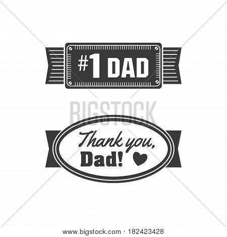 Isolated Happy fathers day quotes on the white background. Thank you, Dad. Congratulations Papa label, badge vector. Daddy elements for your design.