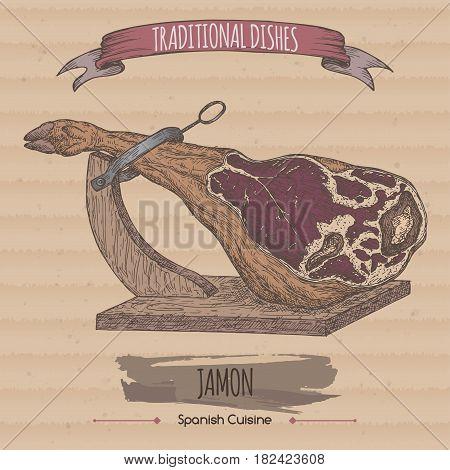 Color vintage jamon sketch on cardboard background. Traditional dishes collection. Great for market, restaurant, grill cafe, food label design.