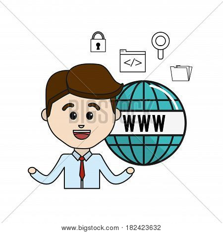 man with global internet icons technology, vector illustration