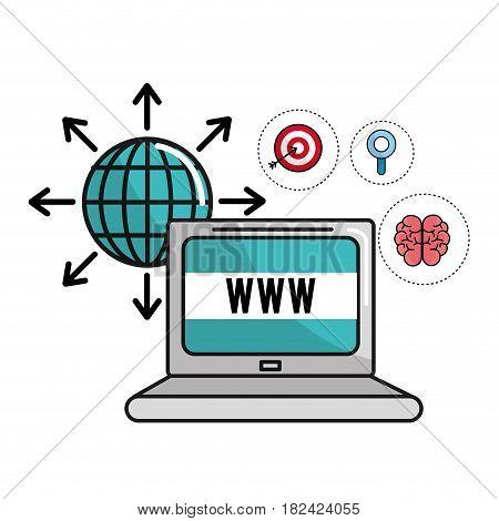 global computer information and mental health, vector illustration