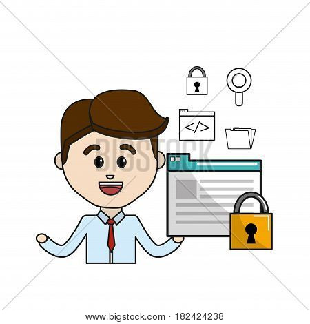 man with digital document padlock security and technology icons, vector illustration