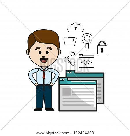 man with digital service and technology icons, vector illustration