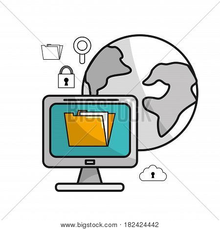 global computer service with technology icons, vector illustration