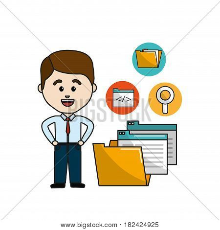 man with digital folder file and documets icons, vector illustration