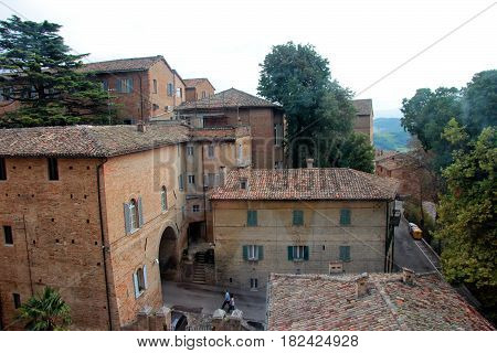 beautiful medieval vintage brick houses in Italian town of Urbino