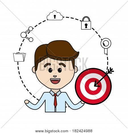 man with arrow target and technology icons data, vector illustration