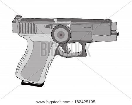 Pistol Gun Icon on the white background.