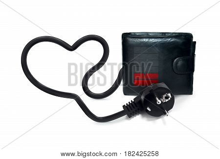 Empty wallet with unplugged power cable and low charge icon.