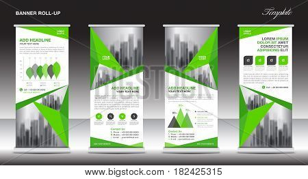 Roll up banner stand template design Green banner layout advertisement Business flyer polygon background vector illustration display x-banner flag-banner infographics presentation poster pull up abstract geometric
