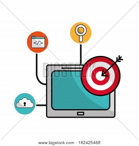 television with arrow target and icons service, vector illustration