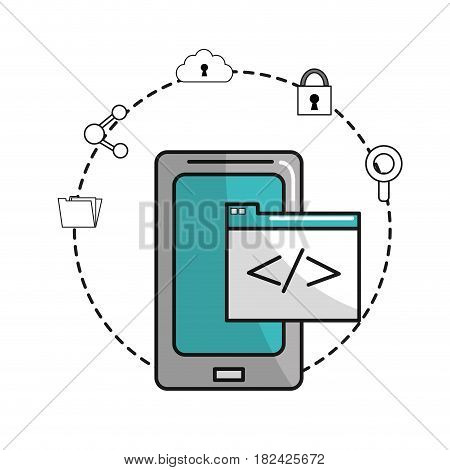 smartphone with document data and icons service, vector illustration