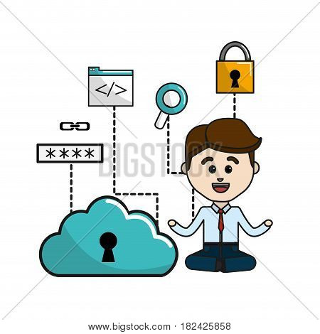 man with cloud data wifi and technology icons, vector illustration