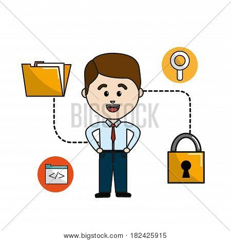man folder file with padlock security data, vector illustration