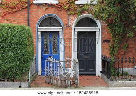 Two typical Georgian doors in Dublin, Ireland