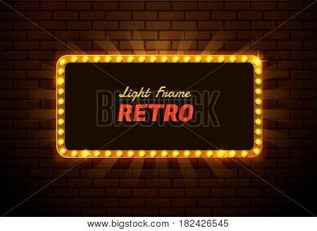 Light frame retro Shining retro light banner อำแะนพ รสสีหะพฟะรนื