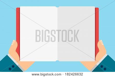 Business man holding a blank diary in hands. Empty space for your projects. Vector illustration in a flat style. Cover and paper pages. EPS 8