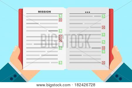 Business man holds a filled diary in hands. Business plan. Green and red marks. Tasks in writing. Vector illustration in a flat style. Cover and paper pages. Agenda. EPS 8