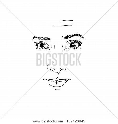 Graphic vector hand-drawn illustration of white skin attractive naive lady feel sorry about something. People face expressions.