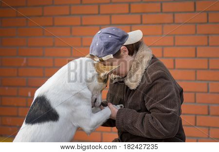 Mature woman having intimate conversation with her dog