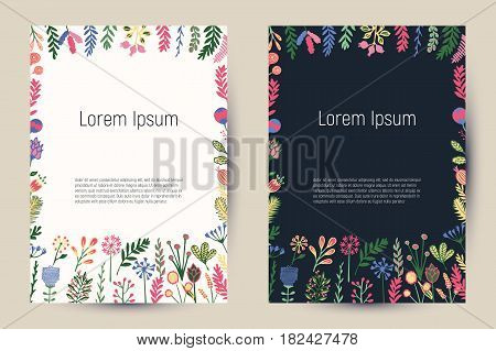 Creative floral cards with blooming flowers and plants. Vintage template backgrounds for flyers, banners, posters, invitation, brochures, editorial, etc.